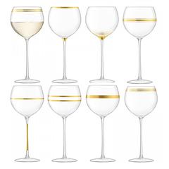 Набор из 8 бокалов для вина с золотым декором Deco 525 мл, фото 9
