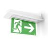 Внешний вид крепления к стене флагом светового указателя направления эвакуации Aestetica LED