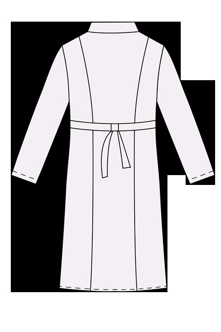 Выкройка женского медицинского халата технический рисунок вид сзади