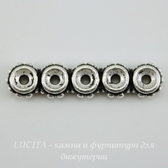 Разделитель на 5 нитей TierraCast (цвет-античное серебро) 27х6х3 мм