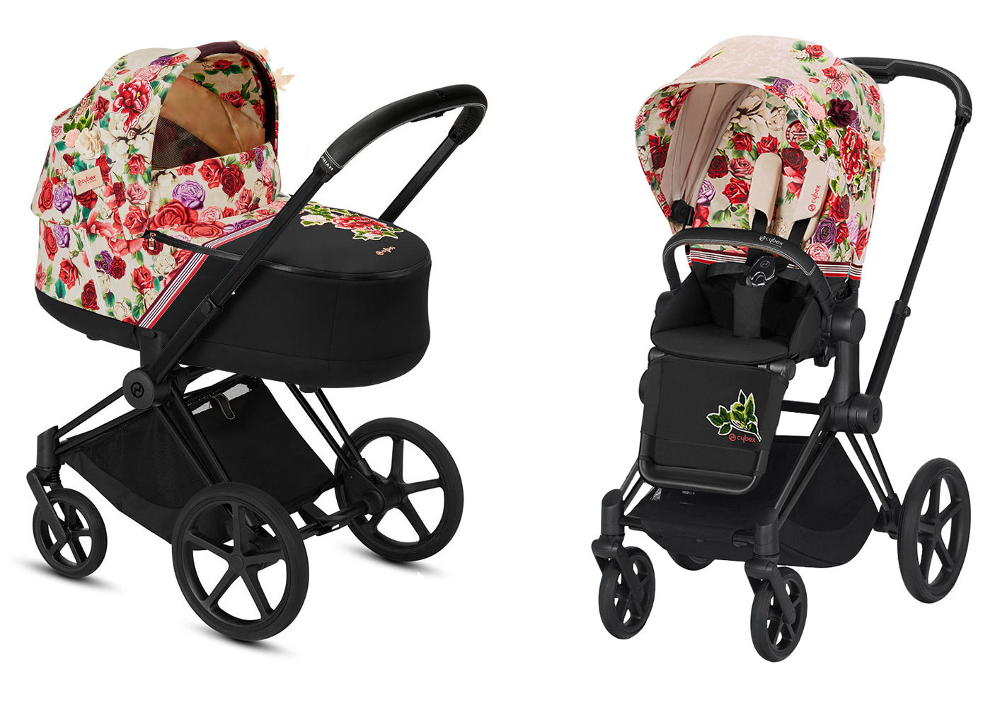 Цвета Cybex Priam 2 в 1 Детская коляска Cybex Priam III 2 в 1 FE Spring Blossom Light шасси Matt Black cybex-priam-iii-2-in-1-spring-blossom-light-matt-black.jpg