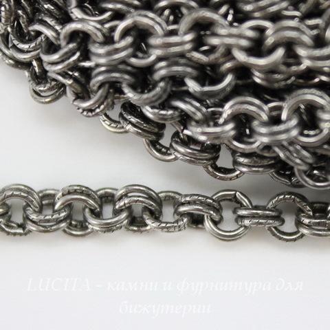 Винтажная цепь двойная (звено 4 мм) (оксид серебра), 10 cм ()