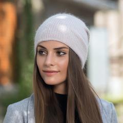 Зимняя шапка из пуха кролика (нежно-розовая)