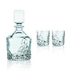 Набор из 3 хрустальных предметов SCULPTURE, декантер 750 мл + 2 стакана 365 мл