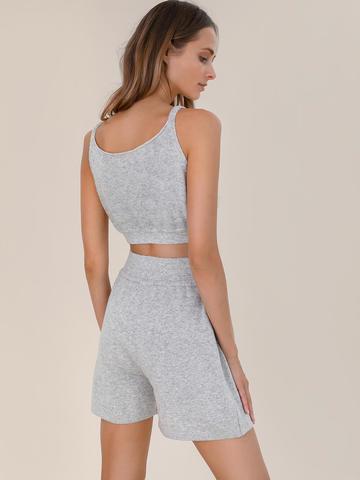 Женские шорты светло-серого цвета из шерсти и кашемира - фото 3