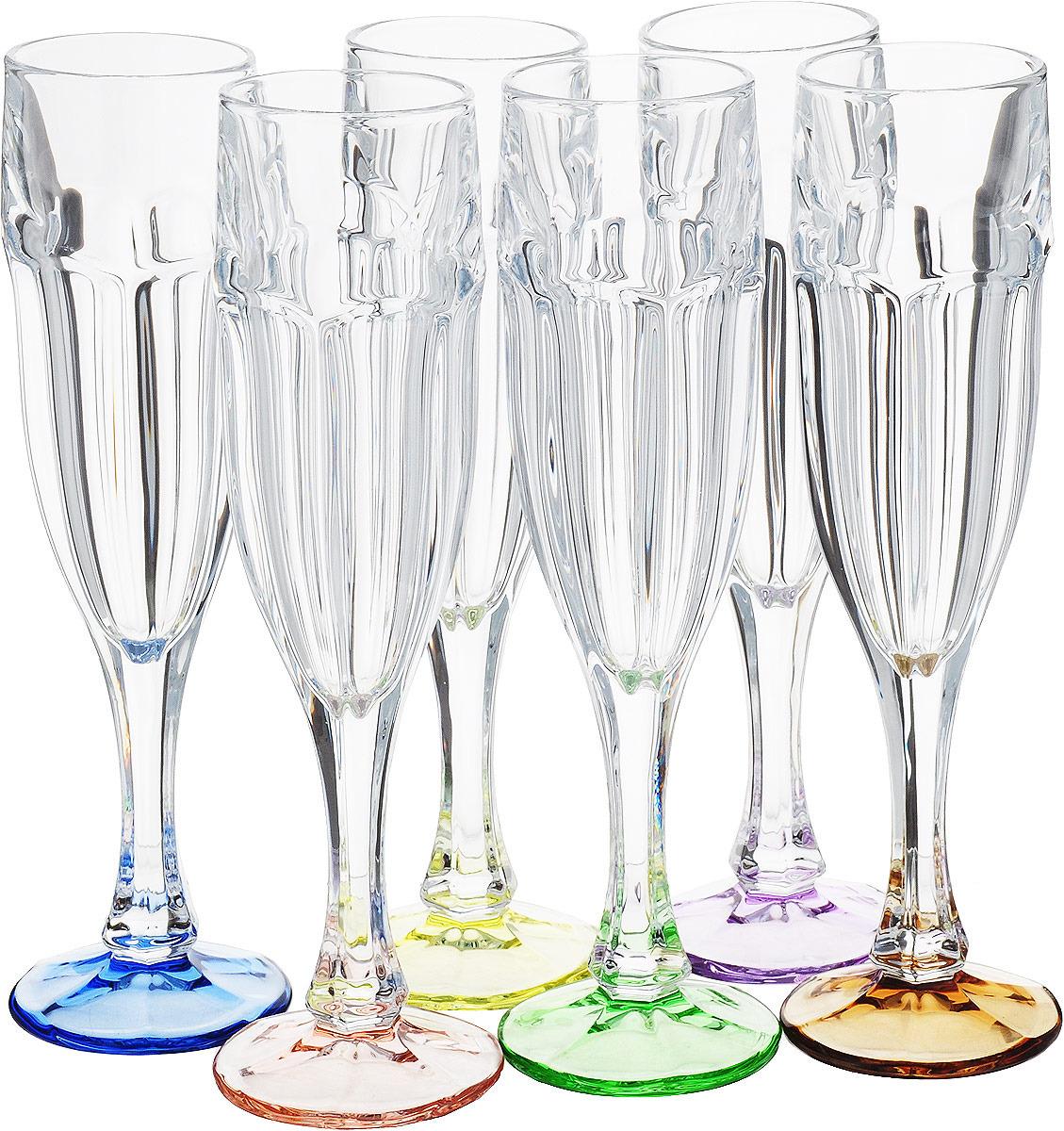 Набор из 6 фужеров для шампанского Crystalite Bohemia Сафари Ассорти, 150 мл