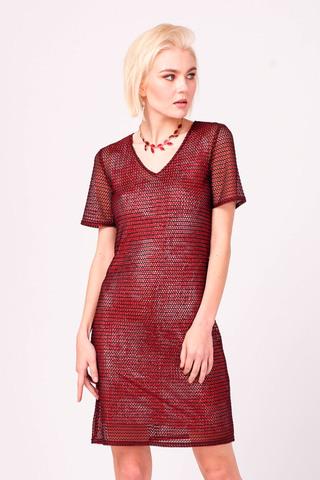 Фото укороченное бордовое платье с глиттерным напылением - Платье З346а-269 (1)