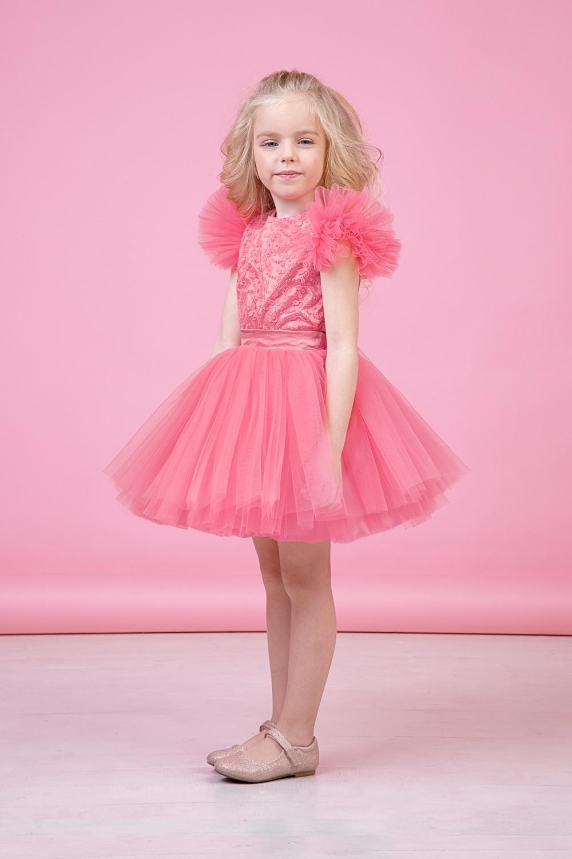 Комплект (блузка, юбка) коралловый для девочки 64-9008-2