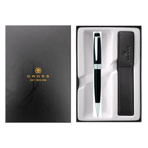 Набор подарочный Cross Bailey - Black Lacquer, шариковая ручка + чехол