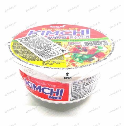 Корейская пшеничная лапша со вкусом кимчи в чашке, Kimchi ramen, 86 гр.