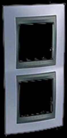 Рамка на 2 поста, вертикальная. Цвет Берилл-графит. Schneider electric Unica Top. MGU66.004V.298