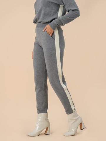 Женские брюки серого цвета из 100% шерсти - фото 2