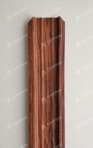 Евроштакетник металлический 85 мм Темное дерево 3D П - образный двусторонний 0.5 мм