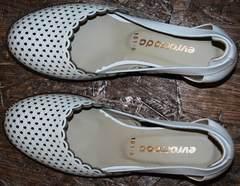 Белые босоножки на низком каблуке Evromoda 101-6 White.