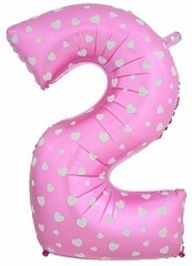 К Цифра 2, Розовый, (40''/102 см), 1 шт.