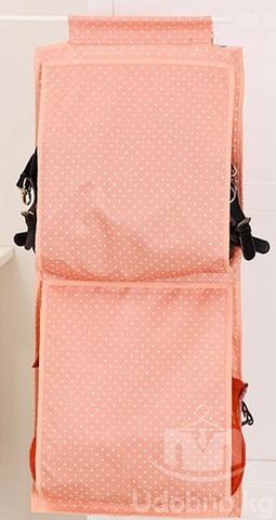 Подвесной органайзер для хранения женских сумок, 5 карманов (розовый в горошек)