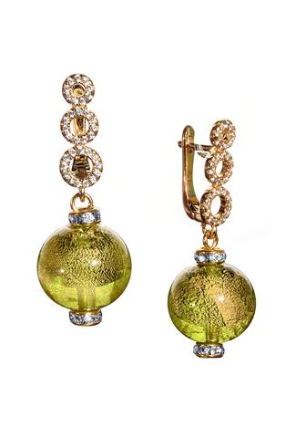 Серьги из муранского стекла со стразами Sandra Ca'D'oro Emerald Light Green CC020O
