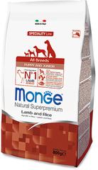 Monge Natural Superpremium All breeds puppy & junior полноценный корм для щенков всех пород ягненок с рисом 800 гр