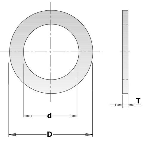 Кольцо переходное 30-25,4x2мм для пилы