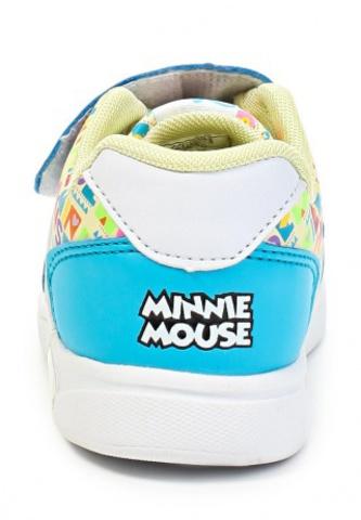 Кроссовки Минни Маус (Minnie Mouse) на липучке для девочек, цвет голубой белый. Изображение 3 из 8.