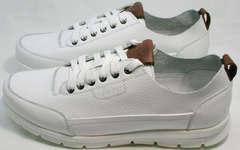 Кожаные кроссовки для ходьбы по городу мужские белые Faber 193909-3 White.