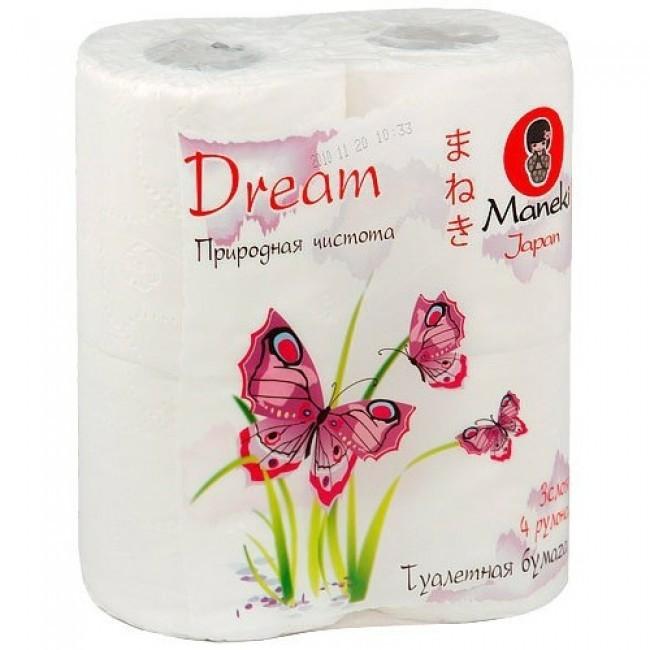 Бумага туалетная, MANEKI, Dream, 3 слоя, 4 рулона, 23 м