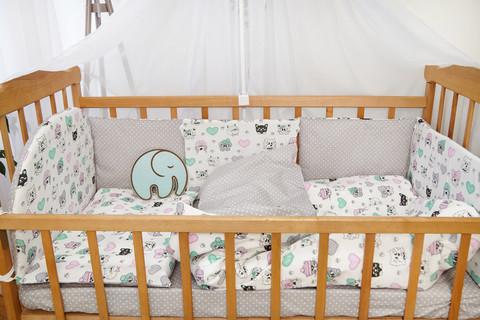 Защита в кроватку от комплекта Есо 8 шт 01-02-01 Унисекс Котята белый