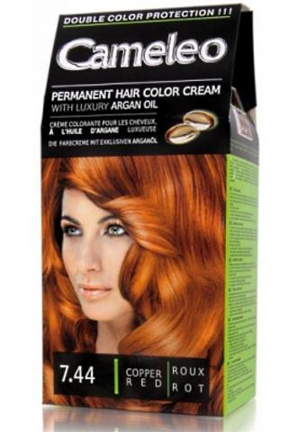 CAMELEO крем краска для волос тон 7.44 медно рыжий (Delia cosmetics)