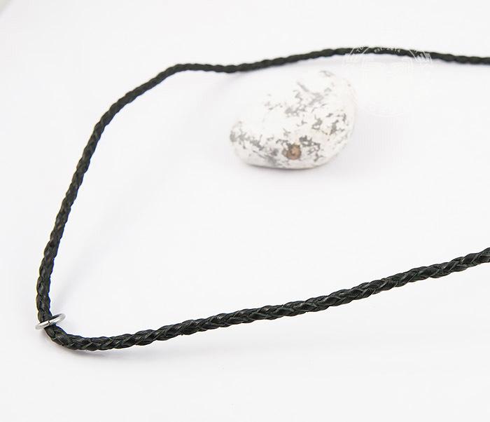 PL274-1 Плетеный шнур ручной работы из натуральной кожи черного цвета фото 03