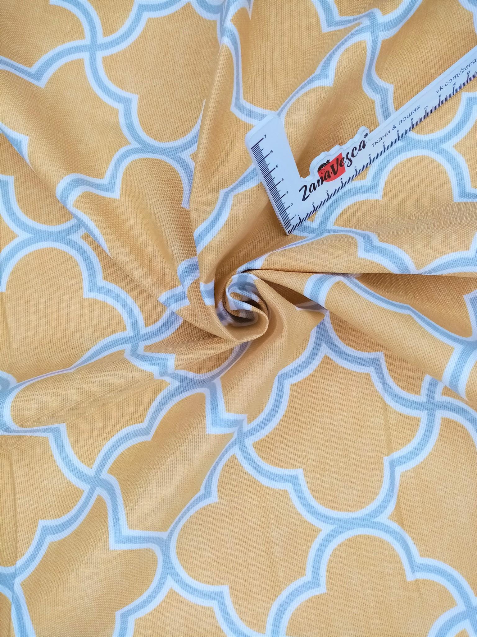 Ткань duck с тефлоновой пропиткой Ромбы арабеска Желтый
