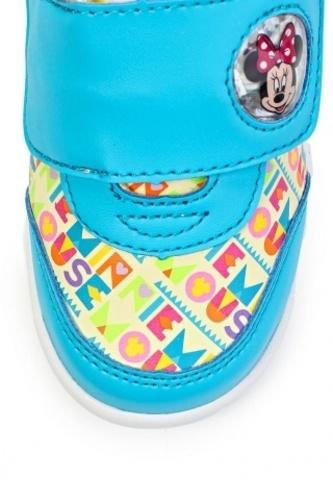 Кроссовки Минни Маус (Minnie Mouse) на липучке для девочек, цвет голубой белый. Изображение 7 из 8.