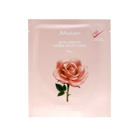 Лифтинг-Маска Для Контура Лица С Экстрактом Розы JM SOLUTION Glow  Luminous Flower Lift-up V Mask Rose