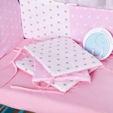 Защита в кроватку от комплекта Есо 8 шт 01-02-01 Для девочек Украина Бело-розовый
