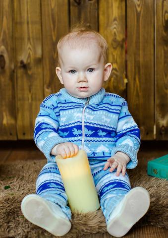 Лапушка. Комбинезон со скандинавскими узорами хлопковый, синий