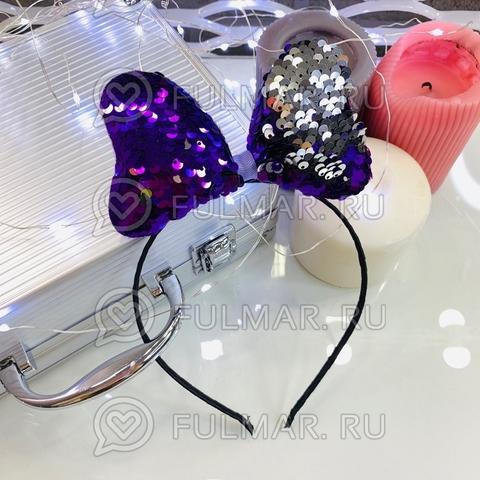 Ободок для волос Бантик с двусторонними пайетками Фиолетовый-Серебристый