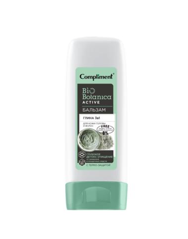 Compliment Biobotanica active Бальзам Глина 3 в 1 для кожи головы и волос Глубокое детокс очищение от силиконов и укладочных средств с термо-защитой