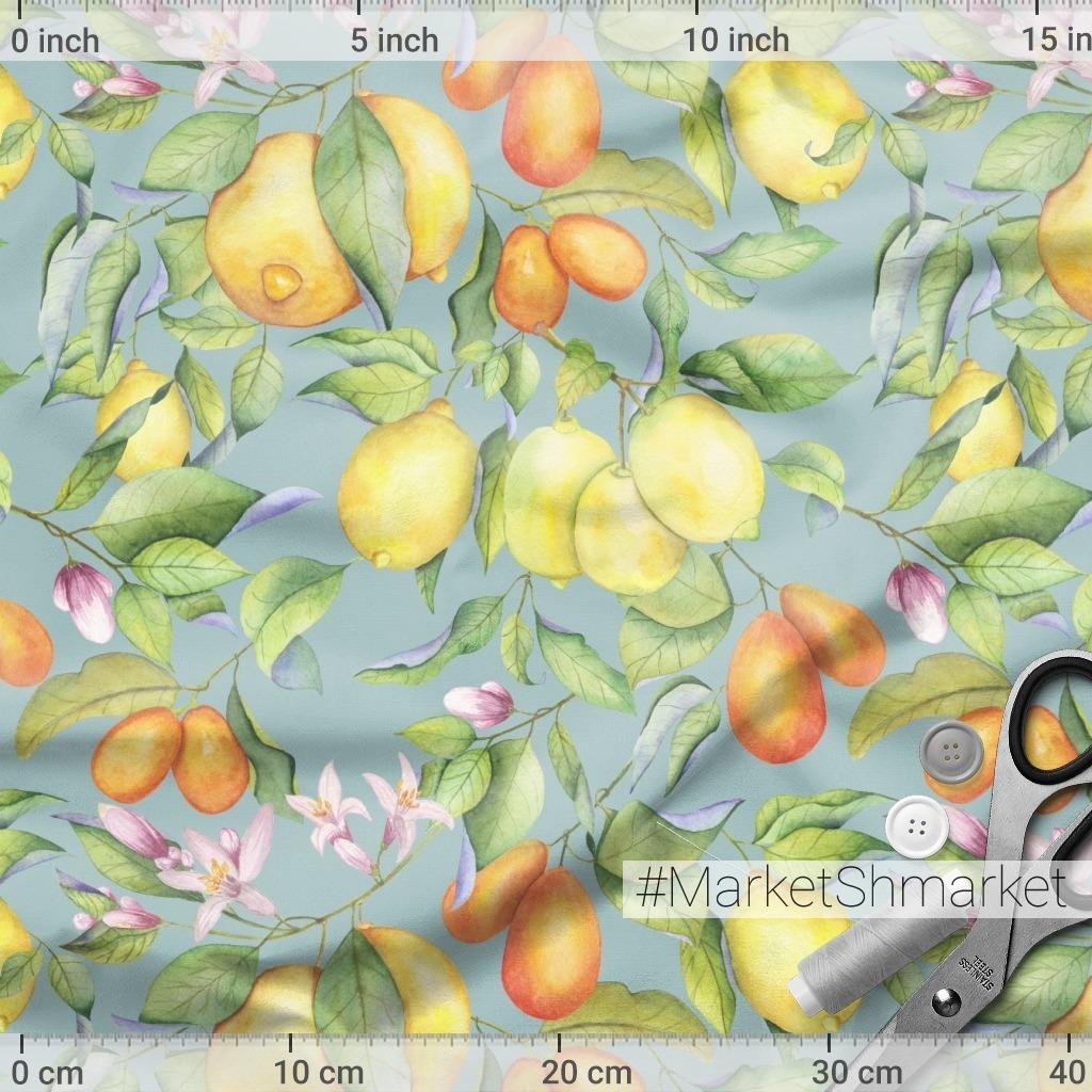 Акварельные лимоны на сером