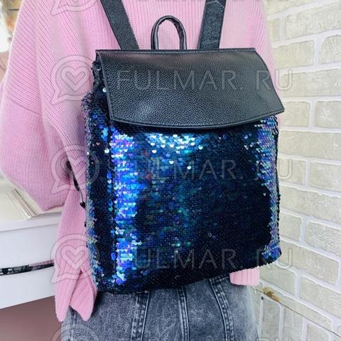 Рюкзак школьный с пайетками (цвет: Синяя русалочка) А4