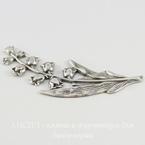 Винтажный декоративный элемент - штамп 68х26 мм (оксид серебра) ()