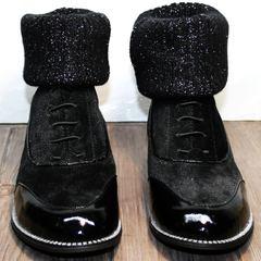 Замшевые ботинки на шнурках женские Kluchini 5161 k255 Black