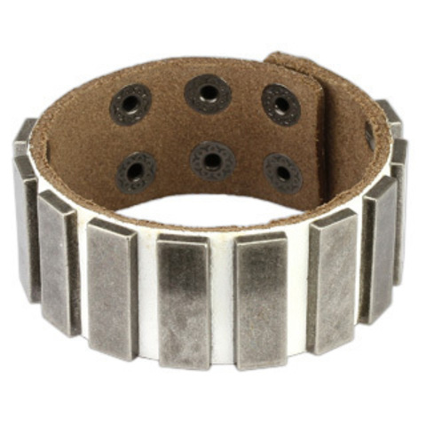 Белый кожаный браслет SPIKES SL0122-W