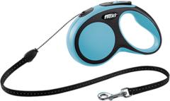 Поводок-рулетка Flexi New Comfort S (до 12 кг) трос 5 м черный/синий
