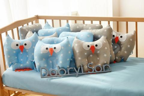 Защита в кроватку от комплекта Совушки 12 шт 09-01-01 Для мальчика Бязь серо-голубой
