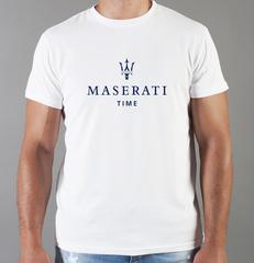 Футболка с принтом Мазерати (Maserati) белая 003
