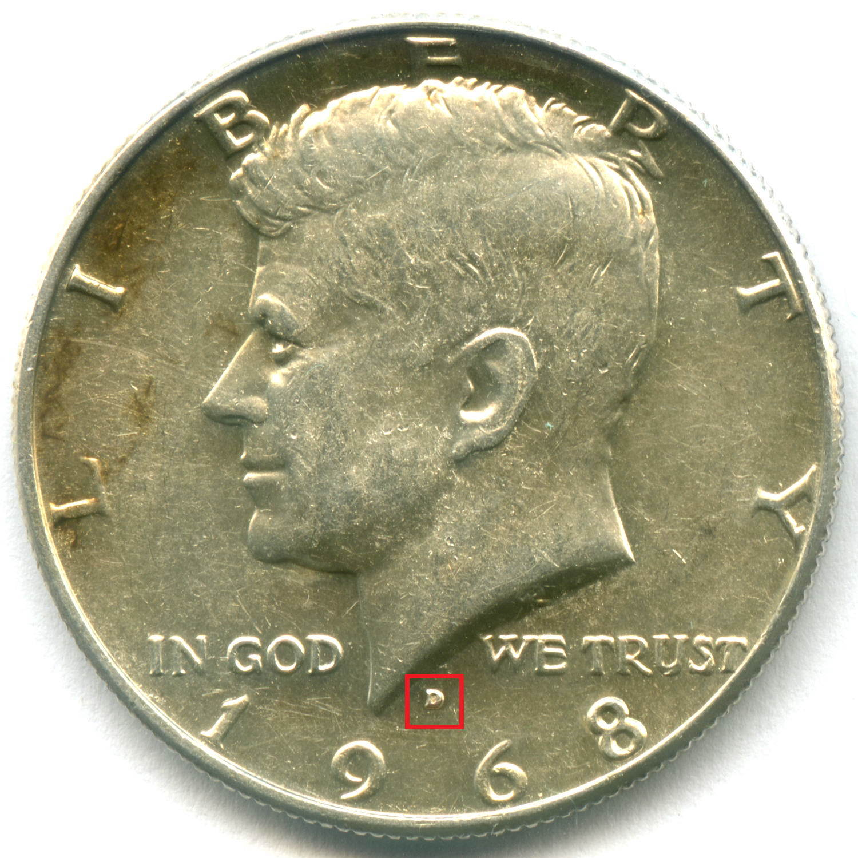 1/2 доллара 1968 (D). США AU (Кеннеди). Серебро