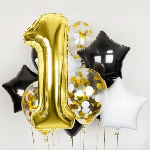 Облако На день рождения с цифрой золото