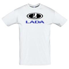 Футболка с принтом ЛАДА (LADA) белая