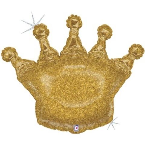 Фольгированный шар Корона глиттер золото