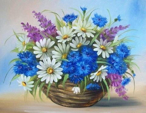 Картина раскраска по номерам 40x50 Разноцветный букет с ромашками