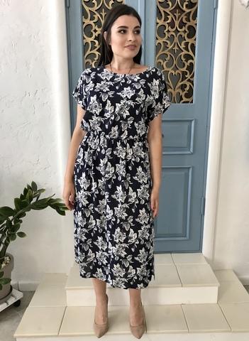 Алла. Платье миди больших размеров. Крупные цветы